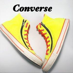 Converse Neon Yellow & Orange Hi Top Sneaker M11